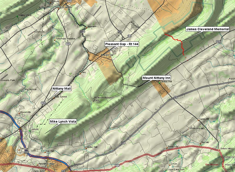 Hikepa james cleveland trail centre hall pa trail map in relief publicscrutiny Choice Image